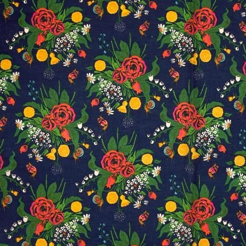 Sleeping Wild Flowers COTTON LAWN in Indigo by Bobbie Lou's Fabric Factory