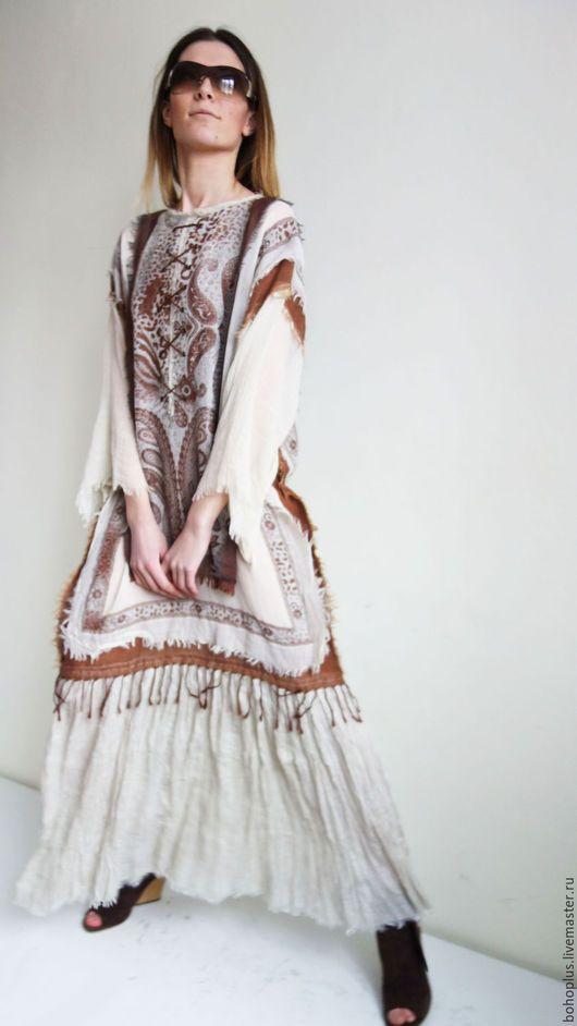 Платья ручной работы. Платье в стиле бохо из тонкого льна