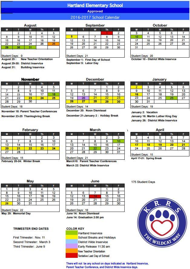 Updated HES 2016-17 School Year Calendar