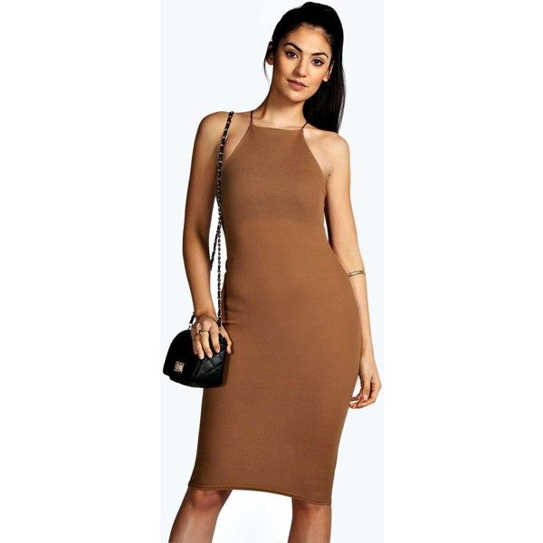 Boohoo Basics Demi Strappy Cutaway Midi Bodycon Dress ($20) ❤ liked on Polyvore featuring dresses, camel, bodycon dress, body con dress, high neck bodycon dress, bodycon midi dress and bodycon cocktail dress