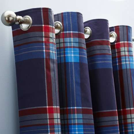 Benefiting from a thick blackout lining to help block sunlight and draughts, these blue and red check curtains feature a modern eyelet header creating soft, loose folds for a pleasant look.