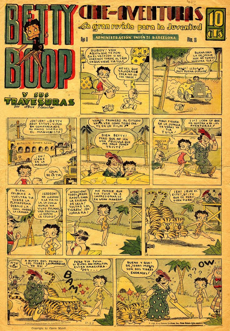 """Spanish-language Betty Boop comic strip (translated as """"Betty Boop and Her Antics""""), distributed by King Features Syndicate, Barcelona, Spain, 1935, by Bud Counihan and Hal Seeger."""