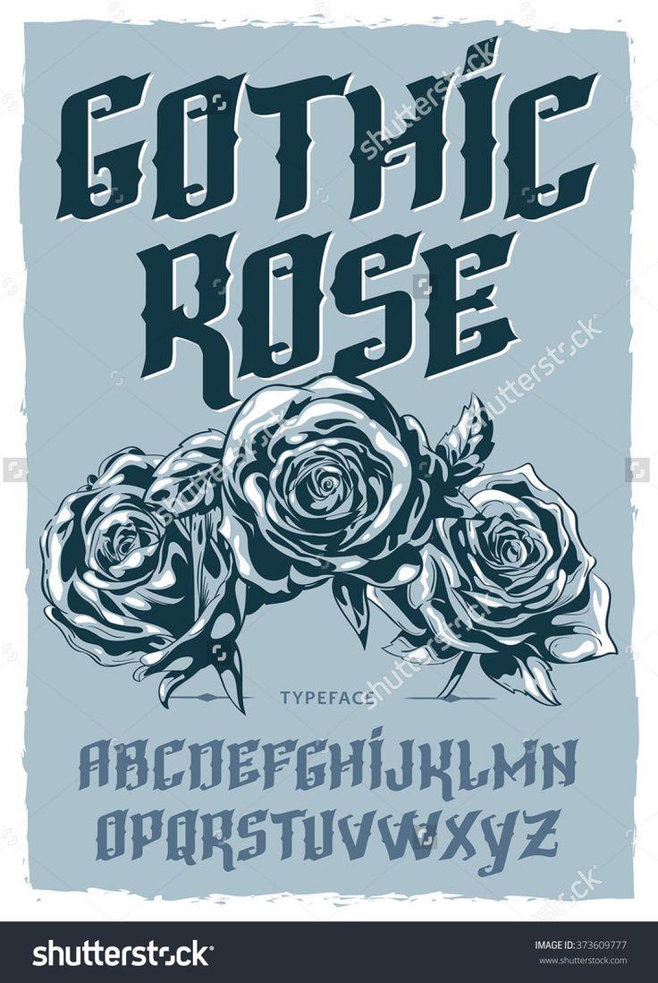 Gothic Rose font illustration. Vector font composition. Typeface vector illustration. Rose vector illustration.