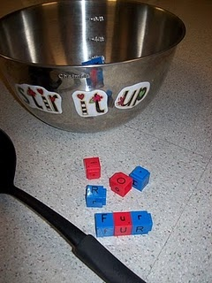 stir it up: kids use soup label to scoop out letter cubes, then build r-controlled vowel words