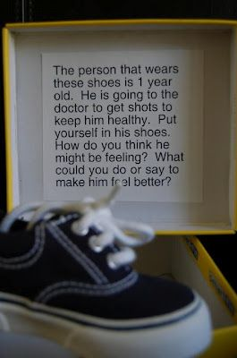 Empathy In A (Shoe) Box - Teach your caring classroom kiddos to walk in one another's shoes {literally and figuratively} with this shoebox activity.