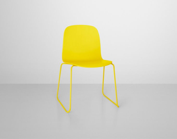 Židle Muuto Visu s kovovou podnoží, žlutá   DesignVille