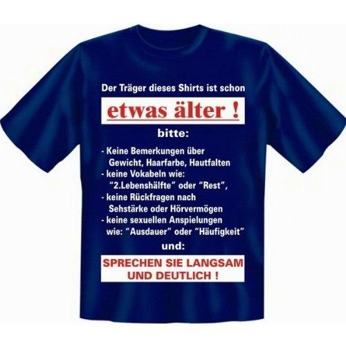 Zum Geburtstag lustiges Sprüche Tshirt - Der Träger dieses Shirts ist schon etwas älter! - in navy-blau : ) Verve Fun Shirt, http://www.amazon.de/dp/B005HDSJQC/ref=cm_sw_r_pi_dp_ORsjrb1P2523V
