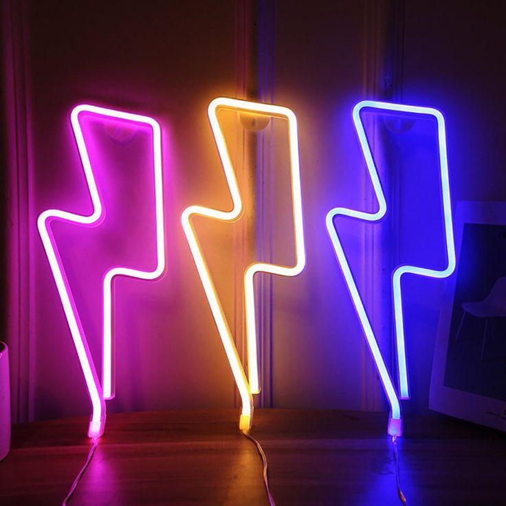 Pink Neon Lights, Pink Neon Sign, Blue Led Lights, Neon Light Signs, Led Neon Signs, Light Led, Neon Wall Signs, Night Light, Lightning Bolt
