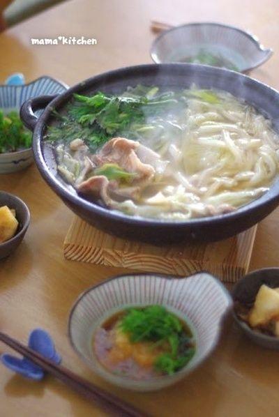 豚肉と春菊でうどんすき。〆にとろろ雑炊! by Mayu*さん | レシピ ...