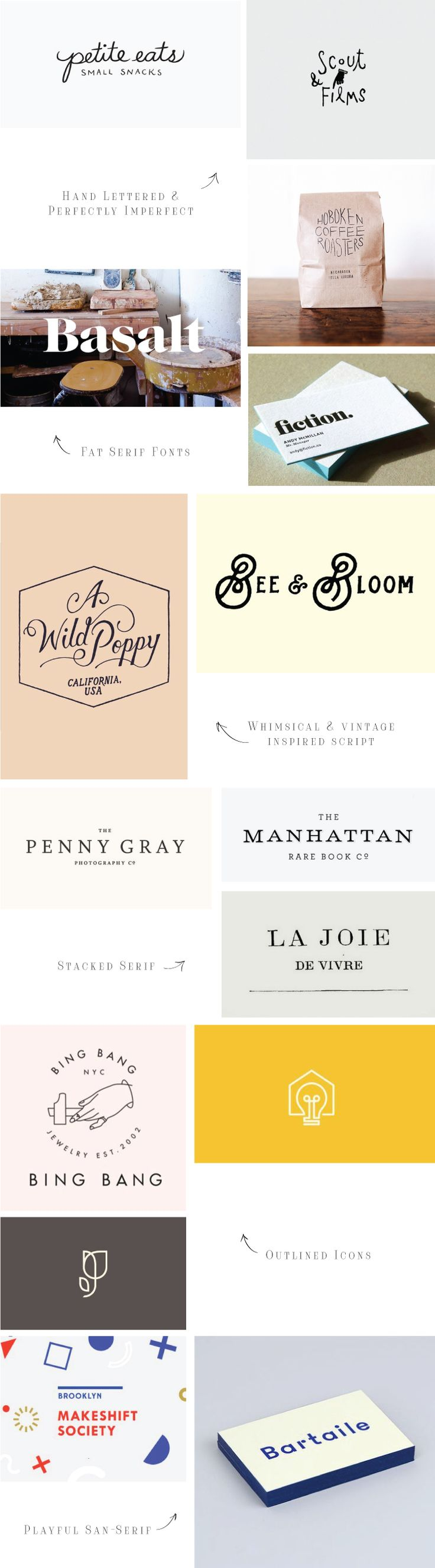 Logo Trend Inspiration! Hand-lettered, fat serifs, whimsical & vintage storybook inspired, outlined icons, and playful san-serifs.