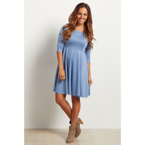 Blue-Solid-Scalloped-Hemline-Dress ($55) via Polyvore featuring dresses, blue party dress, night out dresses, scalloped dress, scalloped edge dress and blue day dress