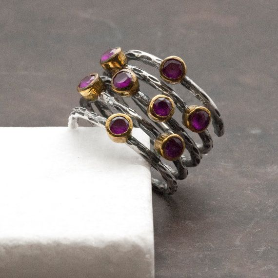Ruby Ring Sterling Wire Wrap Large Ring Stacking by SunSanJewelry