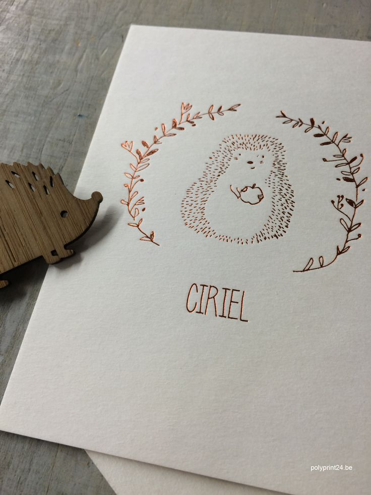 Hot foil birth announcement + letterpress by polyprint24.be
