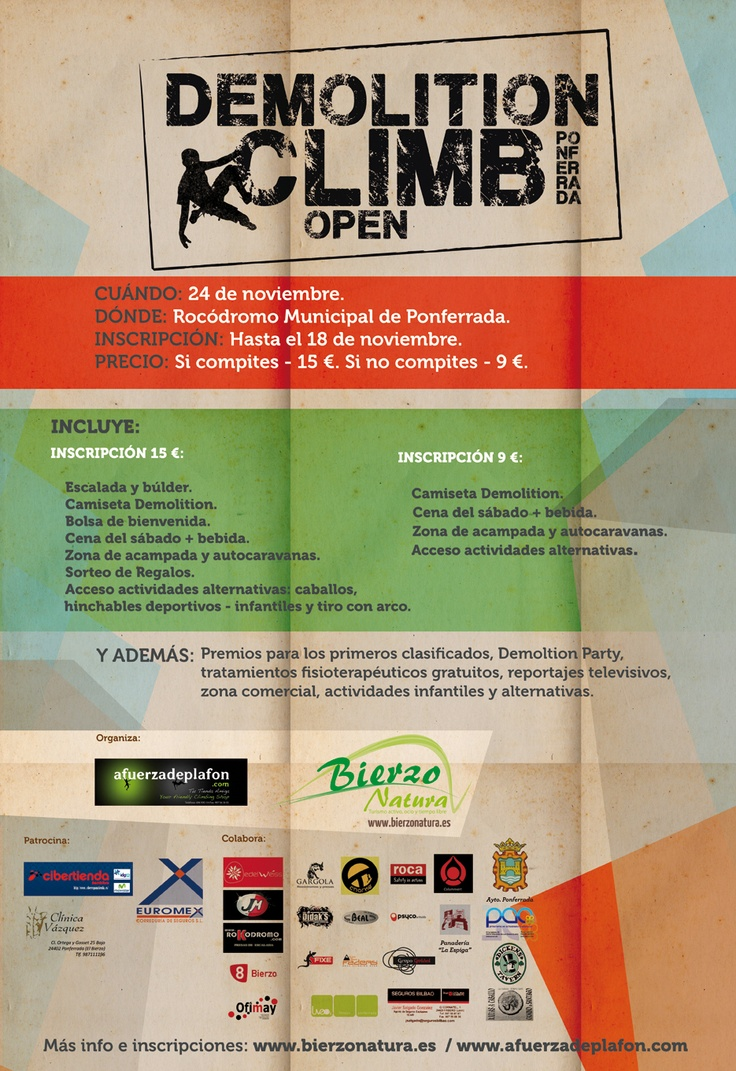 DEMOLITION CLIMB - Concentración - competición de escalada en Ponferrada. Un gran evento. Más info en http://www.bierzonatura.es