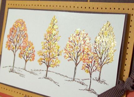 Lovely as a Tree. Not sure what was used on this card, glitter or glittered embossing powder, but wow, isn't it great!