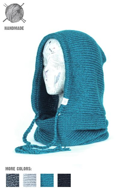Knit Hooded Scarf with functional drawstring, the Verse Hooded Cowl | Handmade in Colorado