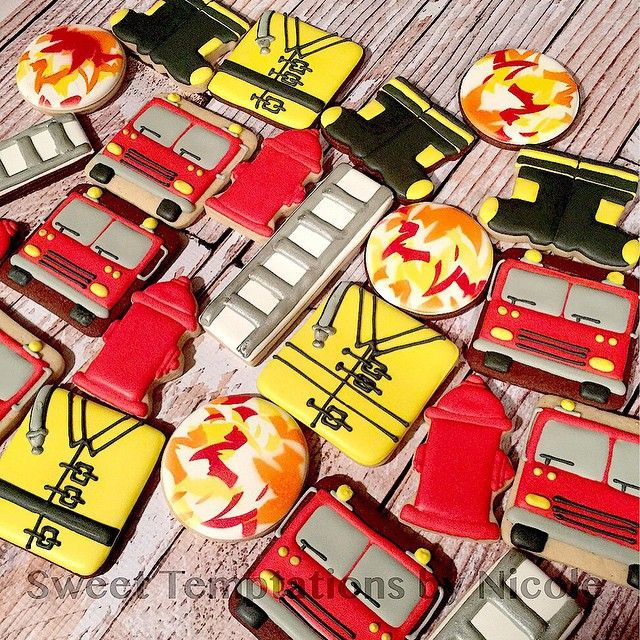 Last week, the preschool that I teach at, took a field trip to a local fire station. I think it's their favorite field trip of the year! So of course, firefighter themed cookies had to be made for the guys! I'm partial to firefighters, because I have been married to one for 14 years! Turnout coat inspired by Sweet Melissa's Cookies on Facebook. #AFD #firefightercookies #DecoratedSugarCookies #SweetTemptationsByNicole
