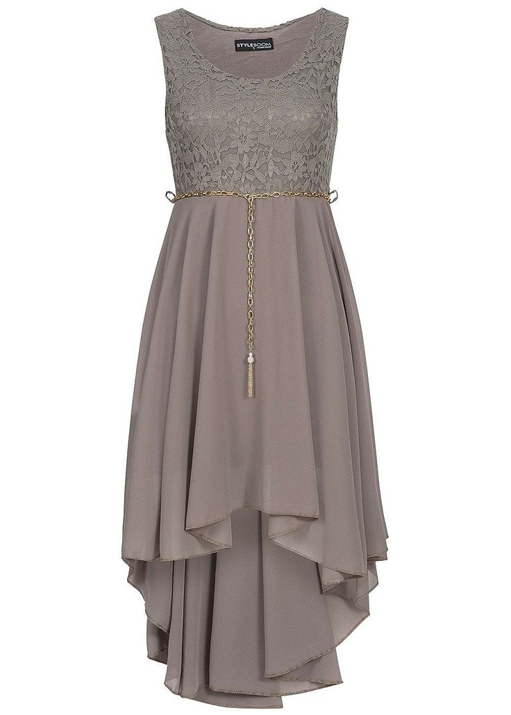 Styleboom Fashion Damen Kleid Vokuhila Spitze Gummizug mit Bindegürtel fango braun - 77onlineshop