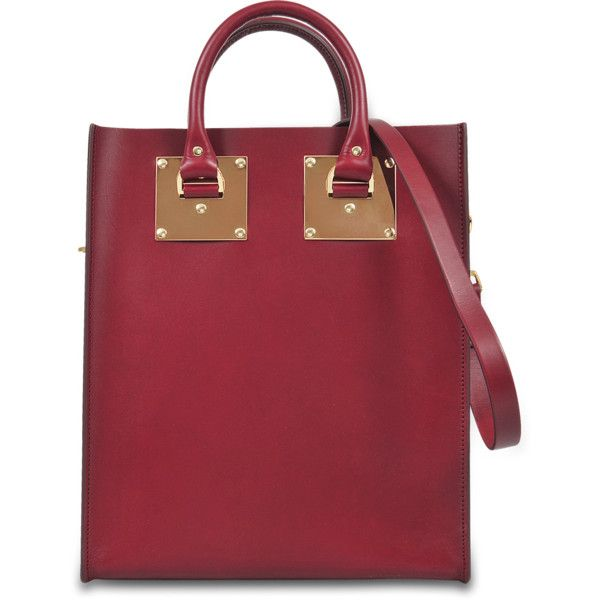 Sophie Hulme Albion mini tote ($973) ❤ liked on Polyvore featuring bags, handbags, tote bags, red, red handbags, red tote handbags, laptop tote, mini purse and red tote bag