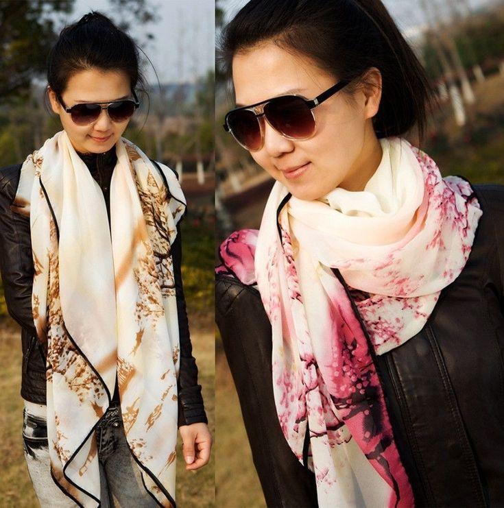 Women Classic Chinese Tree Printing Silk Scarf Wrap Ladies Shawl 140*85 (cm)