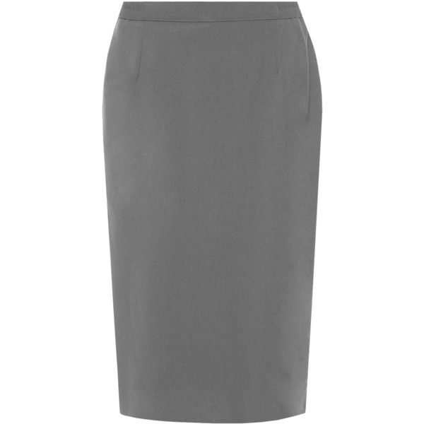 Lace Lined Slit Pencil Skirt ($26) ❤ liked on Polyvore featuring skirts, dark grey, plus size, plus size knee length skirts, dark grey skirt, formal skirts, pencil skirt and womens plus size skirts