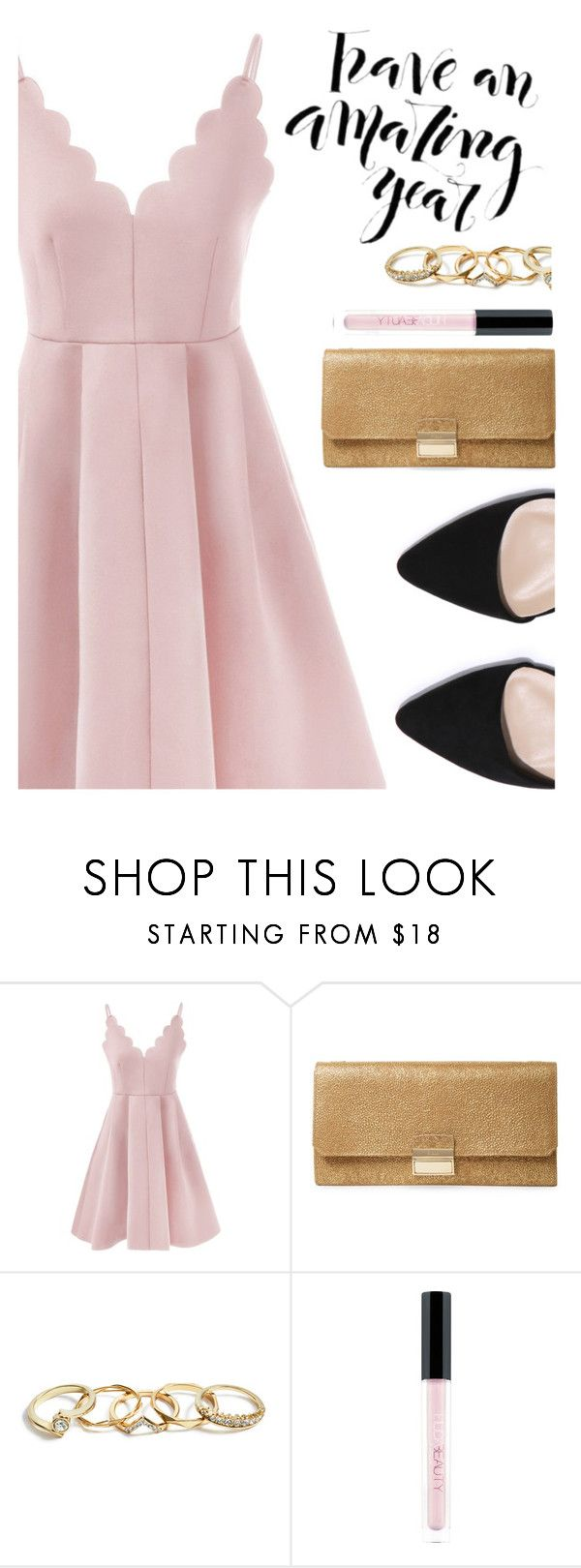 """Happy New year!"" by jackandalice ❤ liked on Polyvore featuring Furla, GUESS and Huda Beauty"