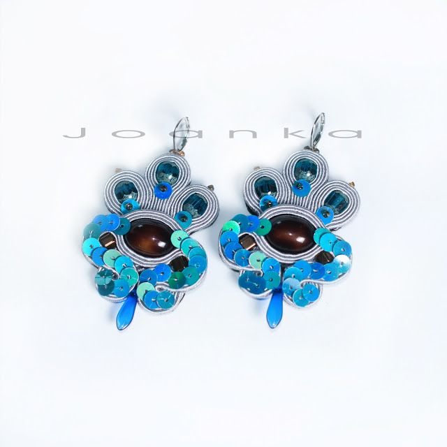 grey, blue soutache earrings