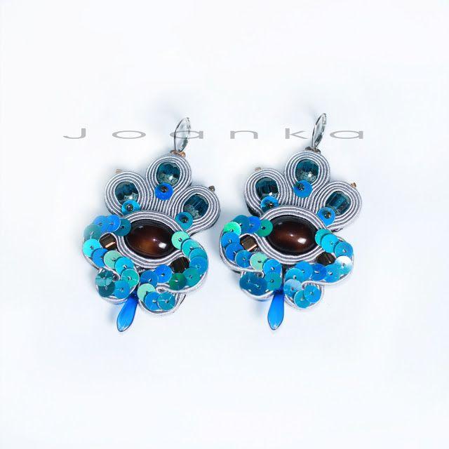 grey, blue soutache earrings