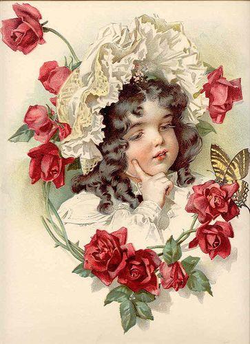 Vintage- girl- roses| Flickr - Photo Sharing!