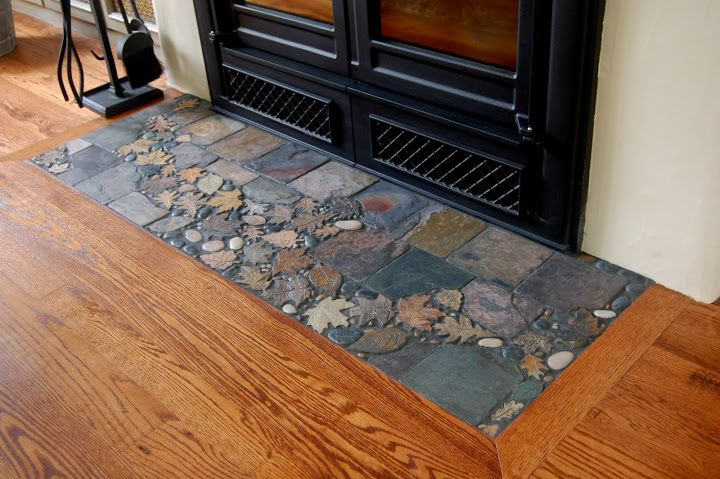 Slate hearth tile work