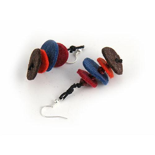 ORECCHINI BARBARELLA BLU  -  Graziosi orecchini con dischetti in lana cotta e perline in resina.