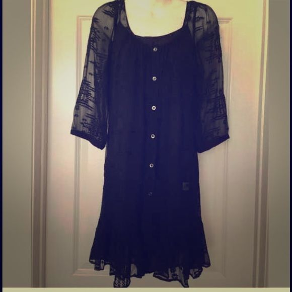 """Cynthia Vincent sheer button up dress Gorgeous black Cynthia Vincent sheer button up dress! Original slip included. Embroidered Aztec print, worn once and in excellent condition. Size M, length 34.5"""", sleeve 18"""", 100% silk exterior and 100% polyester slip. Cynthia Vincent Dresses"""
