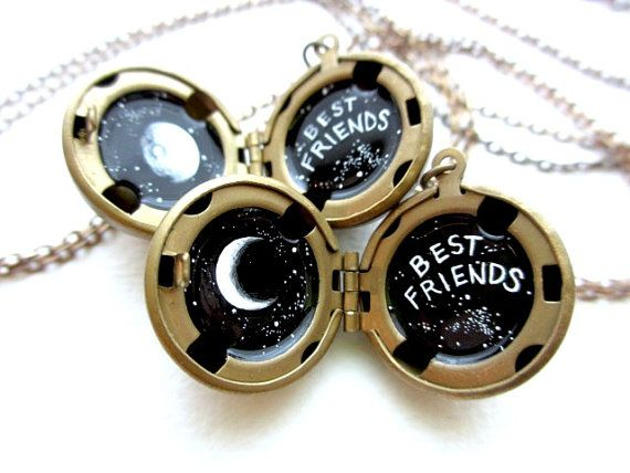 Best Friends Lockets, Waxing and Waning Moons, Hand-Painted Jewelry in Black and White, OOAK Friend Present
