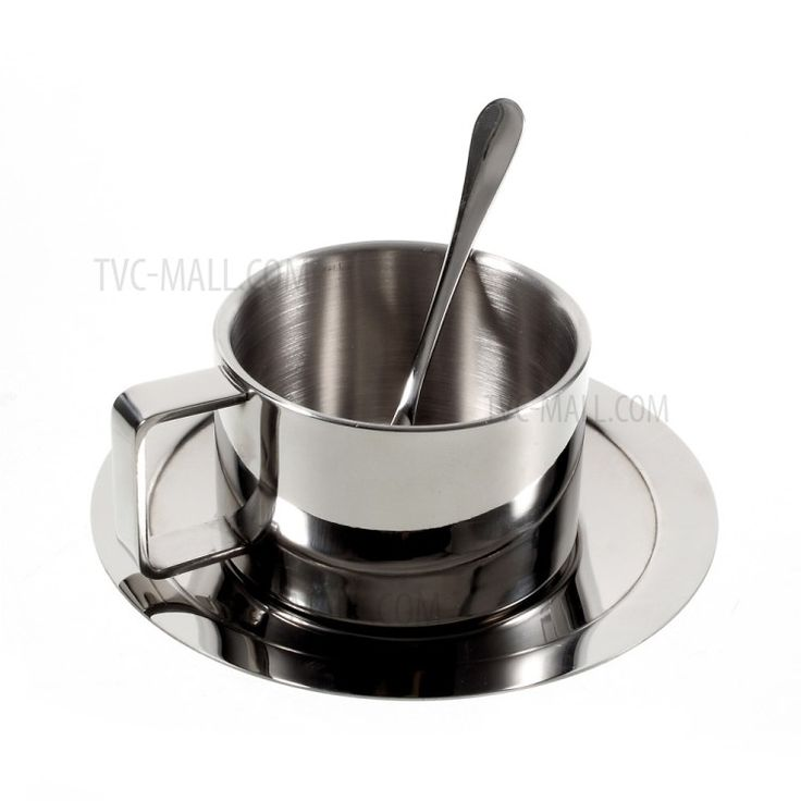 304 Stainless Steel Coffee Cup with Spoon and Saucer Set-1