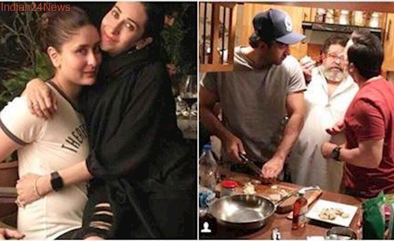 Ranbir Kapoor, Saif Ali Khan turn master chefs for Karisma and Kareena Kapoor. See pic