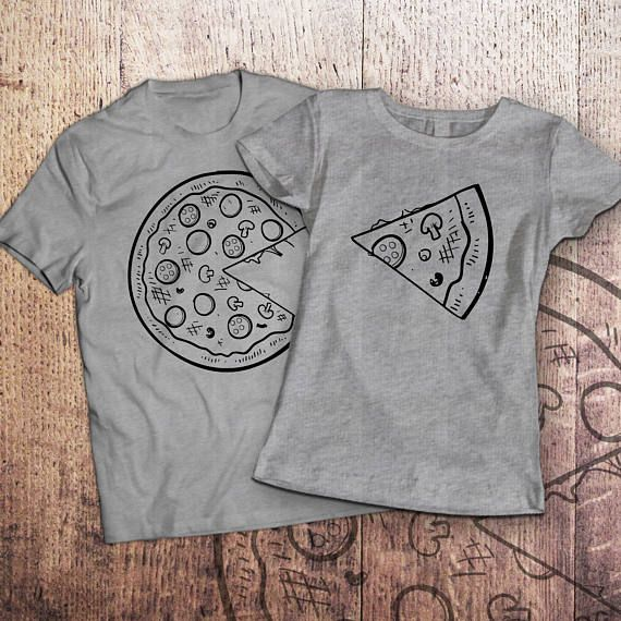 Pizza t shirt / piece of pizza / couple shirts / matching