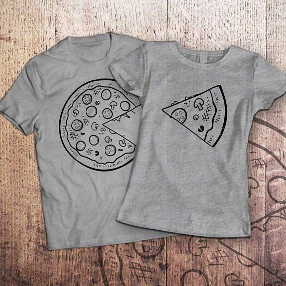 Pizza t shirt / piece of pizza / couple shirts / matching couple shirts / couples shirts / his and hers shirts / couple / pärchen t-shirts