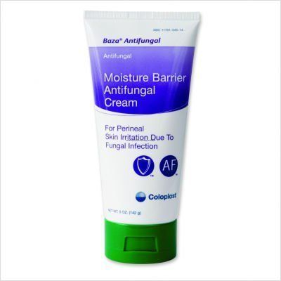 Baza Moisture Barrier Antifungal Cream 5oz by Coloplast. $11.14. Sween Baza Antifungal, Miconazole Nitrate in Moisture Barrier Cream Zinc-oxide based formulation with 2% Miconazole Nitrate to inhibit fungal growth and treat candidiasis (yeast of monilia), jock itch, ringworm, and athlete's foot. Provides a moisture barrier against urine and feces. Baza® Antifungal inhibits fungal growth and treats candidiasis (yeast or monilia), jock itch, ringworm, and athlete's foot.