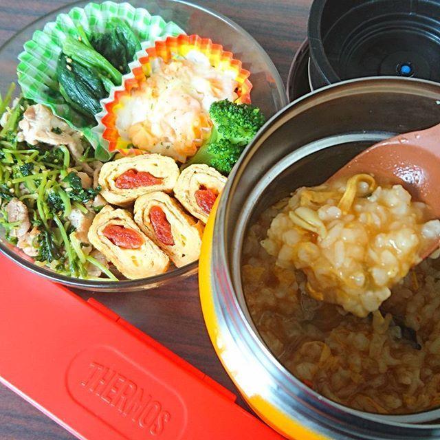 今日のランチは 豚肉と豆苗の白だし煮 ケチャップ巻き卵焼き 韓国チゲ雑炊 ほうれん草のごま和え などです٩(ˊᗜˋ*)و 白だしにいつもお世話になっています(*´꒳`*)白だし煮も、調味料は白だしだけ。いまのお気に入り調味料👍✨ #スープジャー #ランチ #お昼ごはん #ランチ #野菜 #肉 #豚 #卵 #グラタン #ほうれん草 #おかず #ケチャップ #豆苗 #韓国 #チゲ #雑炊 #簡単 #時短 #手軽 #節約