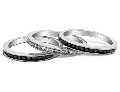 White and Black Diamond Stackable Three Ring Set 1/3 Carat (ctw) in Sterling Silver MyJewelryBox. $199.00. Free Signature MyJewelryBox Gift Box. If you are not completely satisfied, you can return any order for refund or exchange within 30 days from the date of shipment - shop with confidence!
