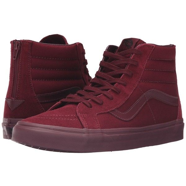 Vans SK8-Hi Reissue Zip ((Mono) Port Royale) Lace up casual Shoes ($80) ❤ liked on Polyvore featuring shoes, sneakers, zip sneakers, zipper sneakers, lace up sneakers, vans footwear and rubber shoes