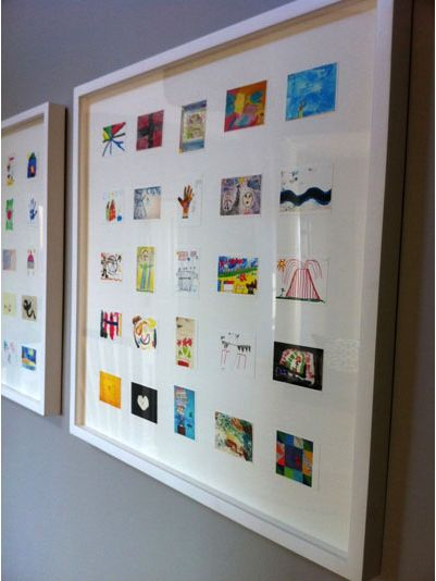 Here is how you get rid of all that kid artwork without anyone being upset! Scan your kids' art work, then print out in smaller size. Put multiples in gallery frames together.
