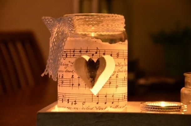 mason jar and music sheet - pretty candle holder