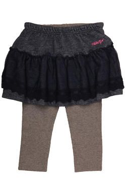 A gorgeous denim-look fleece skirt with lace overlay and leggings. From Naartjie Kids SA.