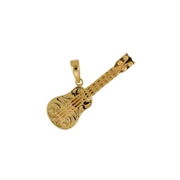 14k Gold Hawaiian Heirloom Jewelry Ukulele Pendant from Hawaii ❤ liked on Polyvore featuring jewelry and pendants