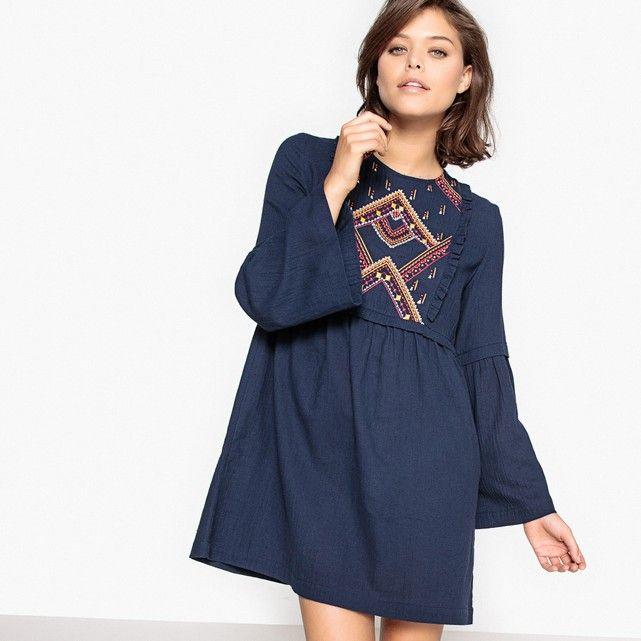 фото Платье короткое с длинными рукавами, с вышивкой SUNCOO
