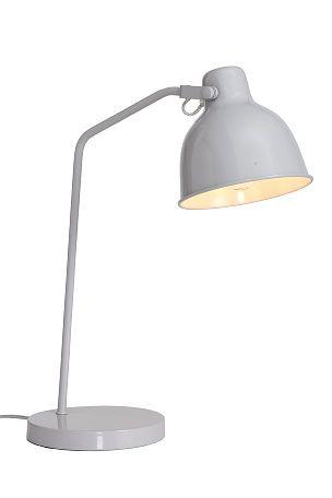 Bordlampe i metal med stilbar skærm. Ledning (2 m) med afbryder. Højde ca. 50 cm. Ø skærm ca. 16 cm. E27.<br><br> <br><br>