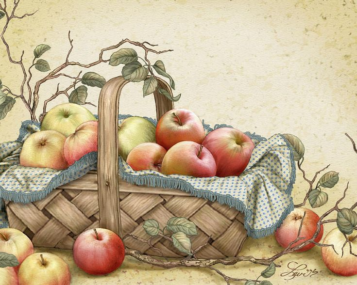 Granny's Basket by Beverly Levi-Parker ~ mixed media still life