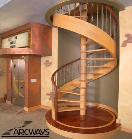 Beautiful Modern Spiral Stairs Arcways Santa Barbara Spiral Model Features A  Maple/bubinga Contrast With Unique Alternating Stainless Steel Balusters. Great Pictures