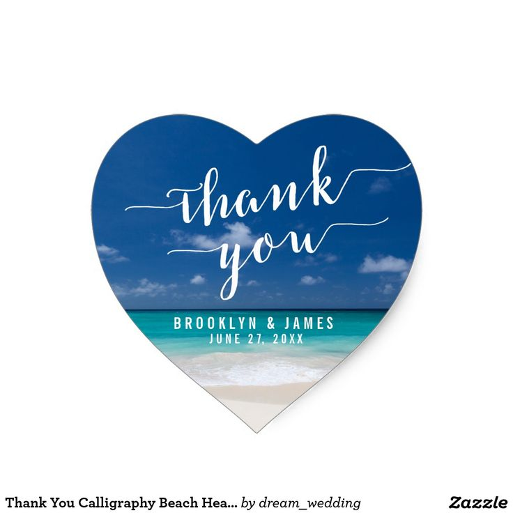 Thank You Calligraphy Beach Heart Wedding Stickers